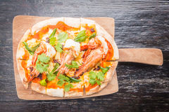 Pizza de Tom yum imagem de stock