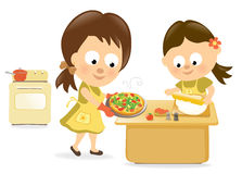 Pizza de traitement au four de mère et de descendant illustration libre de droits