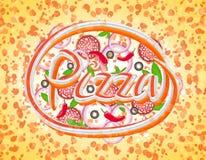 Pizza de una variedad de ingredientes, letras abstractas, pixeles estirados, vector Imagen de archivo libre de regalías