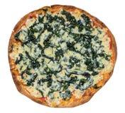 Pizza degli spinaci Percorso di ritaglio ed isolato Fotografie Stock