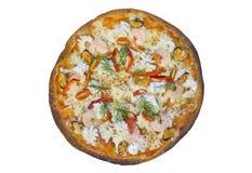 Pizza dei frutti di mare Percorso di ritaglio ed isolato Immagini Stock