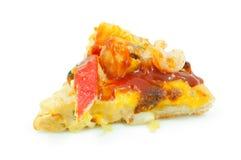 Pizza dei frutti di mare su fondo bianco isolato Immagine Stock