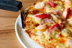 Pizza dei frutti di mare, vista superiore Immagine Stock
