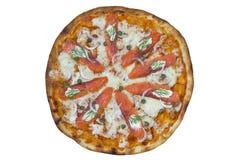 Pizza dei salmoni affumicati Percorso di ritaglio ed isolato Fotografia Stock Libera da Diritti