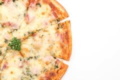 pizza del bacon e degli spinaci fotografie stock