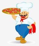 Pizza del cocinero Fotos de archivo
