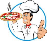Pizza del cocinero ilustración del vector