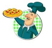 Pizza del cocinero Imagen de archivo