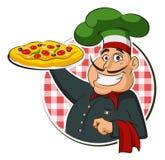 Pizza del cocinero Imagenes de archivo
