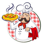 Pizza del cocinero Fotos de archivo libres de regalías