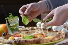 Pizza del condimento di rivestimento fotografie stock libere da diritti
