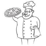 Pizza del cuoco Fotografia Stock Libera da Diritti