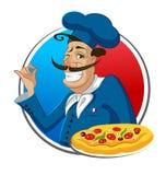 Pizza del cuoco chef illustrazione di stock