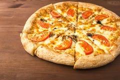 Pizza del fungo con formaggio ed i pomodori Immagine Stock