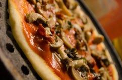 Pizza del fungo prataiolo Immagine Stock