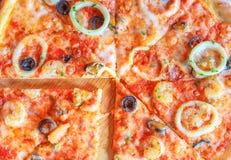 Pizza del italiano de los mariscos Imagenes de archivo