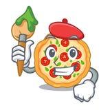 Pizza del margherita del artista en un horno de la historieta stock de ilustración