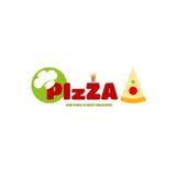 Pizza del menú del logotipo para el estilo individual de su negocio fotos de archivo