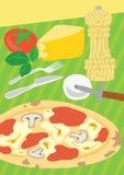 Pizza del pan amargo con los ingredientes Fotos de archivo