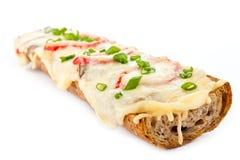 Pizza del pan francés Imagen de archivo libre de regalías