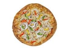 Pizza del pollo del barbecue Percorso di ritaglio ed isolato Fotografia Stock