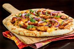 Pizza del pollo del BBQ Fotografie Stock