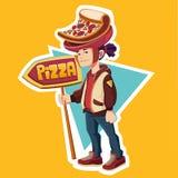 Pizza del ragazzo dorato pizzeria Fotografia Stock