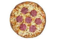 Pizza del salame Percorso di ritaglio ed isolato Fotografia Stock