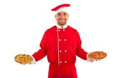 Pizza del servizio del cuoco unico Fotografia Stock