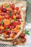 Pizza del tomate con queso del ricotta fotografía de archivo libre de regalías