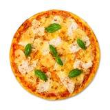 Pizza deliciosa con la piña y el pollo Imagen de archivo libre de regalías