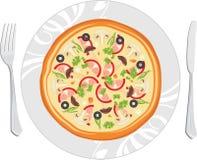 Pizza deliciosa en el plato Imágenes de archivo libres de regalías