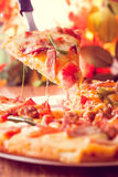 Pizza. Delicious fresh pizza served on table stock photos