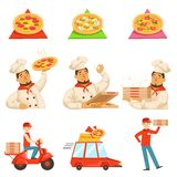 Pizza Delievery Fast Service Process Info Illustration royalty free illustration