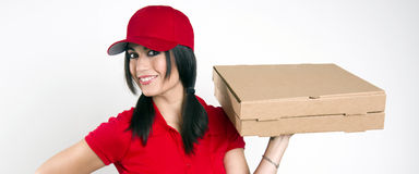 Smile Attractive Female Food Dinner Pizza Delivery Royalty Free Stock Images