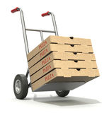 Pizza delivery. 3D illustration with pizza boxes and hand truck Royalty Free Stock Image
