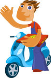 Pizza delivery. Man, vector illustration Royalty Free Stock Photo