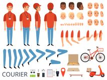 Pizza delivery animation. Fast food courier body parts with professional items box bike vector character creation kit. Courier creation kit hand and foot stock illustration