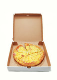 Pizza in delivery box Stock Image