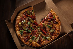 Pizza in the in delivery box stock image