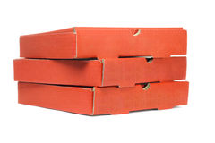 Pizza Delivery Boxes. Stack of Pizza Delivery Boxes On White Background Royalty Free Stock Photography