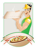 Pizza delivery boy. With copy space vector illustration
