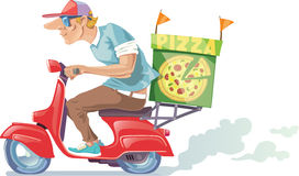 Pizza Delivery. The pizza delivery boy in a baseball cap is riding the retro scooter Royalty Free Stock Images