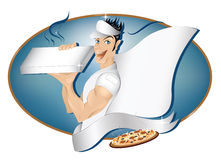 Pizza delivery boy with copy space. Pizza express delivery boy for your logo and text with copy space on banner ribbon ,pizza box ,cap and his cape vector illustration