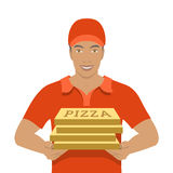 Pizza delivery boy holding cardboard boxes Stock Photography