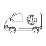 Pizza delivery car van service outline Stock Images