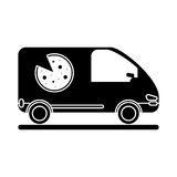 Pizza delivery car van service pictogram Royalty Free Stock Photography