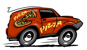 Pizza delivery car Royalty Free Stock Image