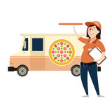 Pizza delivery car Stock Images