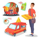 Pizza delivery cartoon illustration with van, scooter, courier character design and transportation and navigation Royalty Free Stock Photo